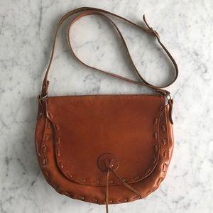 Italian handmade saddle crossbody leather bag
